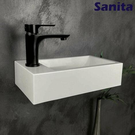 Lave-mains suspendu 40 cm en Pierre de synthèse finition blanc brillant - Telma G