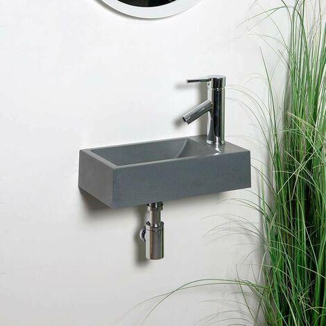 Lave-mains suspendu 40 cm Gris en Pierre de synthèse - Telma D