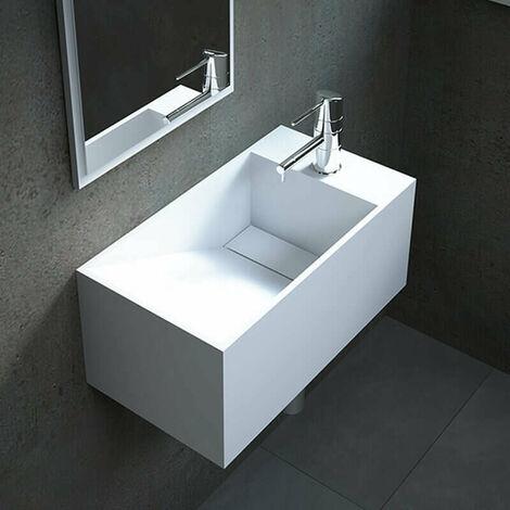 Lave-mains suspendu 50 cm en Solid surface - Rhéa D