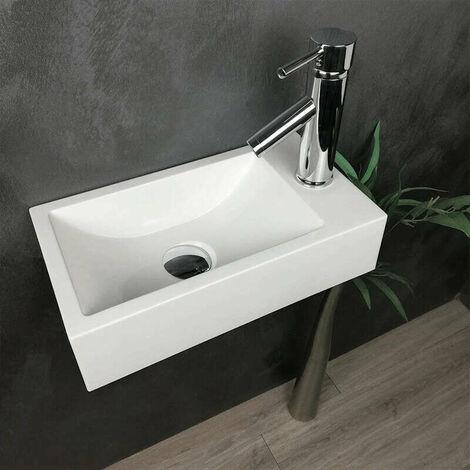 Lave-mains suspendu blanc 40 cm en Pierre de synthèse - Telma D