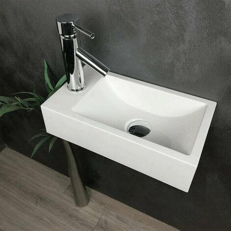 Lave-mains suspendu blanc 40 cm en Pierre de synthèse - Telma G