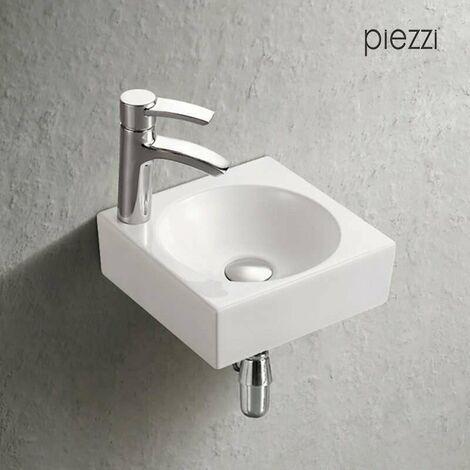 Lave-mains suspendu carré en céramique blanche 28 cm - Yadéo