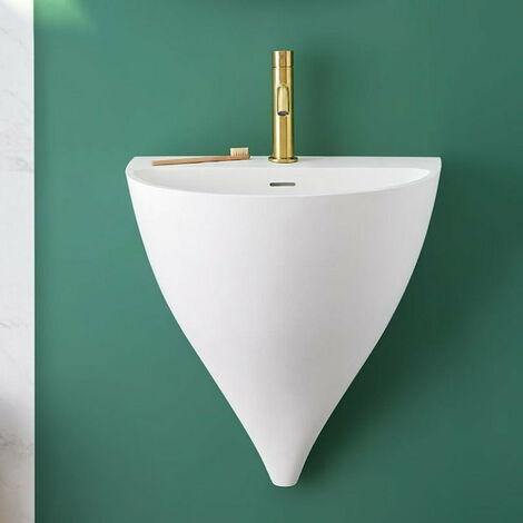 Lave-mains suspendu design KALIYA 50 cm en solid surface