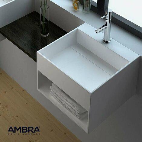 Lave-mains suspendu, vasque carrée en Solid surface 33 cm - Karaé
