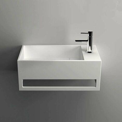 Lave-mains suspendu, vasque rectangle en Solid surface 50 cm - Mona D