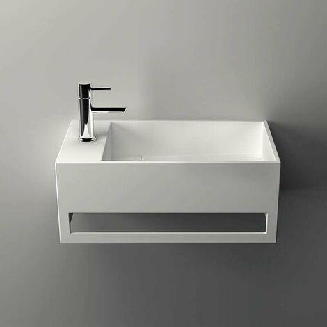 Lave-mains suspendu, vasque rectangle en Solid surface 50 cm - Mona G