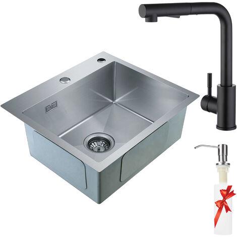 55 /× 45cm Auralum Lavello da cucina incasso in acciaio inox seta lucida con 1 vasca e gocciolatoio seta