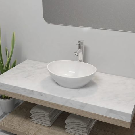 Lavello Bagno con Miscelatore in Ceramica Ovale Bianco