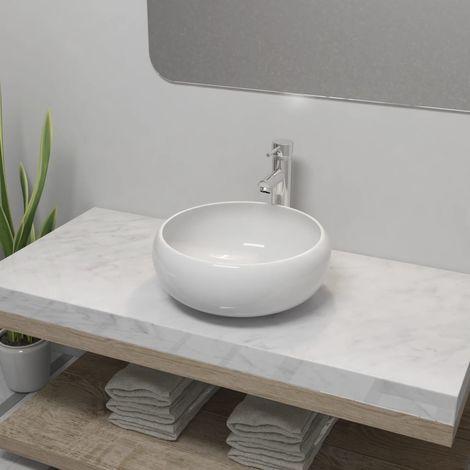 Lavello Bagno con Miscelatore in Ceramica Rotondo Bianco