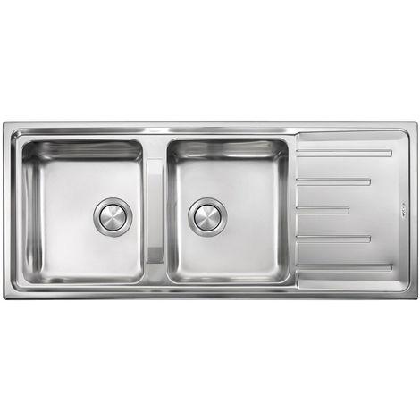 Lavello BRANDO 116X50 2 vasche + gocciolatoio ACCIAIO INOX