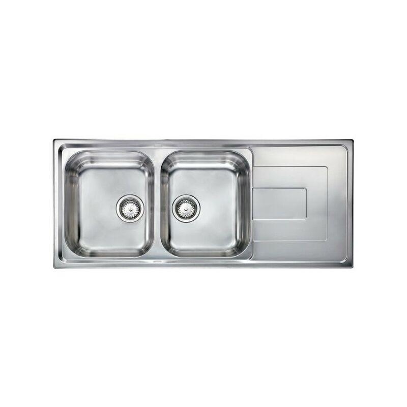 Lavello COMO 116X50 2 vasche + gocciolatoio ACCIAIO INOX