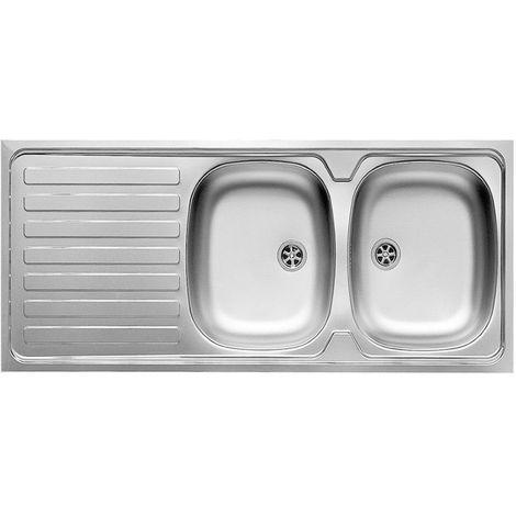 Lavello cucina 120x60 in acciaio inox 2 vasche gocciolatoio reversibile  10118101