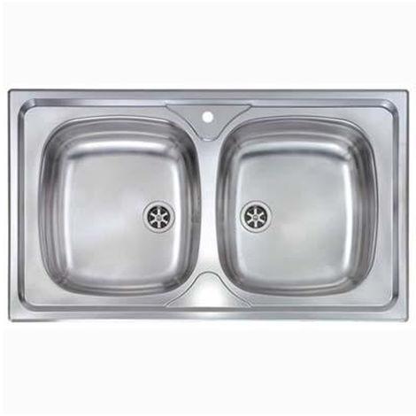 Lavello cucina 86x50cm in acciaio inox due vasche incasso arredo ...