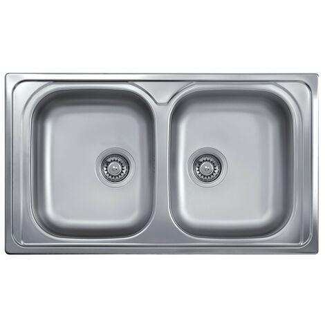 Lavello cucina doppia vasca acciaio inox saldato da incasso 50x86 cm ...