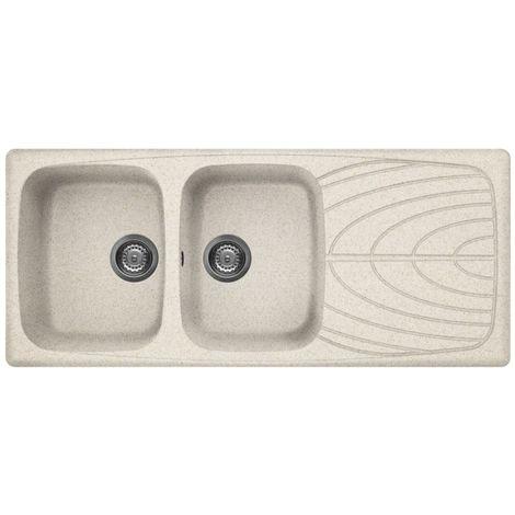 Lavello cucina granitek 2 vasche e gocciolatoio avena serie master Elleci