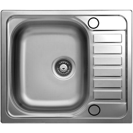 Lavello Cucina Vasca Da Incasso Acciaio Gocciolatoio Reversibile 50x58 Cm A10794