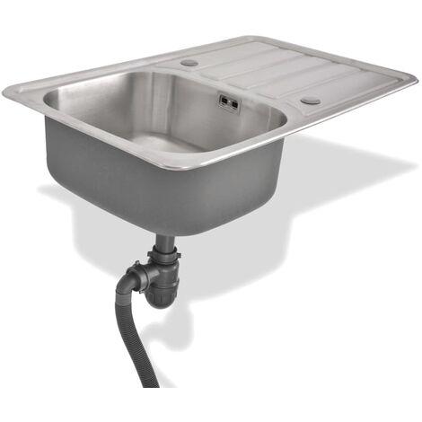 Lavello da Cucina con Scarico e Sifone in Acciaio Inox -