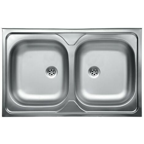 Lavello da cucina due vasche in acciaio inox da appoggio 50x80 cm ...