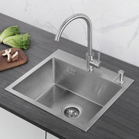 Lavello da Cucina in Acciaio Inox Spazzolato Inossidabile Lavandinoa Base Lavello Quadrato (55 x 45 x 22 cm)