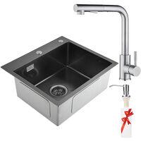 Lavello da Cucina in Acciaio Inox Spazzolato Inossidabile Lavandinoa Base Lavello Quadrato (58 x 43 x 22 cm)