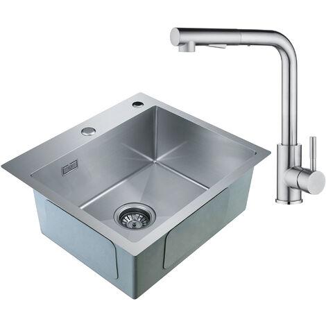 Lavello da Cucina in Acciaio Inox Spazzolato Inossidabile Lavandinoa Base Lavello Quadrato (78 x 43 x 22 cm)