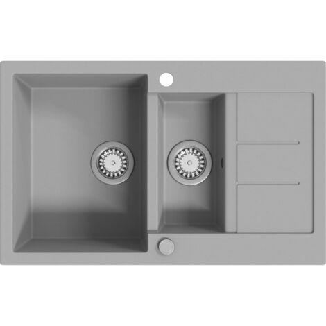 Lavello da Cucina in Granito Vasca Doppia Grigio