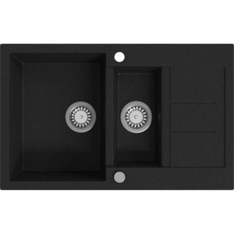 Lavello da Cucina in Granito Vasca Doppia Nero -