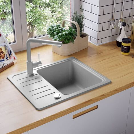 Lavello da Cucina in Granito Vasca Singola Grigio