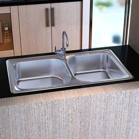 Lavello Doppio Quadrato per Cucina in Acciaio Inox con Scarico -