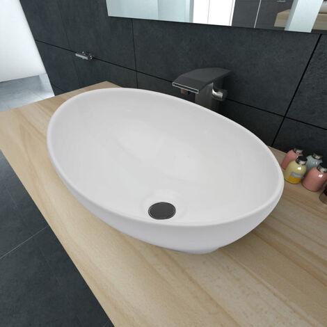 Lavello in Ceramica di Lusso Bianco Ovale 40 x 33 cm
