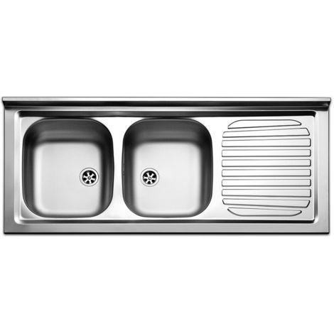 Lavello lavandino cucina inox appoggio da mobile cm 120 x 50 ala dx