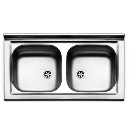 Lavello lavandino cucina inox appoggio da mobile cm 90 x 50 a due ...