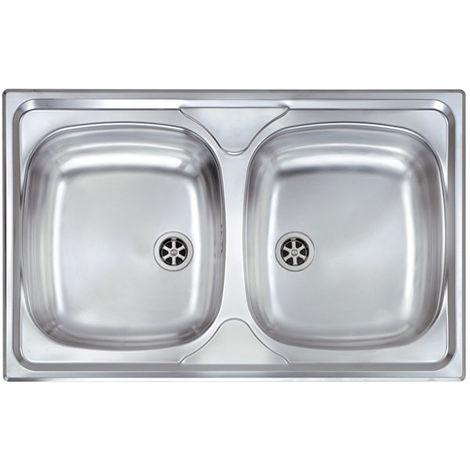 Lavello MONDIAL 79x50 2 vasche ACCIAIO INOX