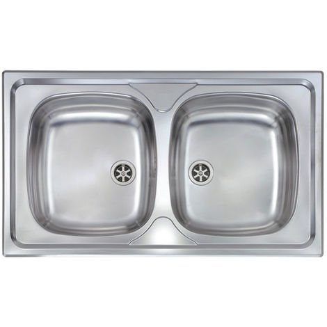 Lavello MONDIAL 86x50 2 vasche ACCIAIO INOX