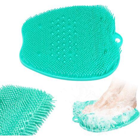 Laveur de pieds de douche,Tapis de massage des pieds patin de lave-pieds avec ventouse pour plancher de douche (green)