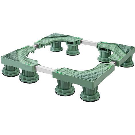 Laveuse Base De Lave-Linge Seche-Linge Pied Reglable Laveuse Socle 8-Pieds Base Reglable Pour Seche-Linge Et Lave-Linge Et Un Refrigerateur, Vert