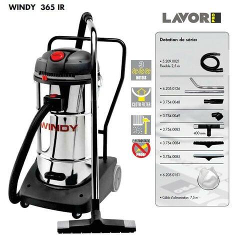 Lavor Pro - Aspirateur eau et poussières en inox 3600W (3 moteurs) 65L 195l/s - WINDY 365 IR