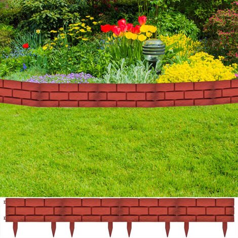 """main image of """"Lawn Divider with Brick Design 11 pcs - Red"""""""