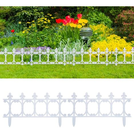 Lawn Edgings 16 pcs White 10 m PP