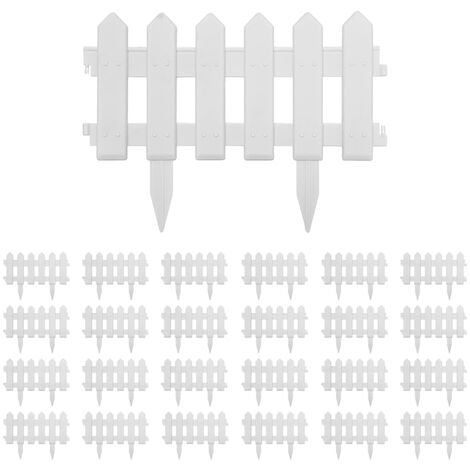 Lawn Edgings 25 pcs White 10 m PP