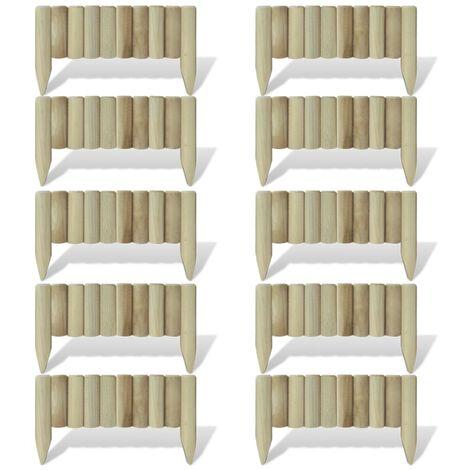 Lawn Log Panels 10 pcs Wood 60 cm - Brown