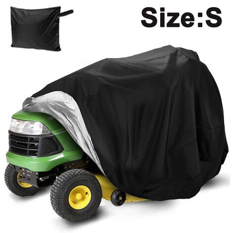"""main image of """"Lawn Mower Cover -Tractor Cover Fits Decks up to 54"""" Storage Cover Heavy Duty 210D Polyester Oxford, UV Protection Universal Fit with Drawstring & Cover Storage Bag, S, black"""""""