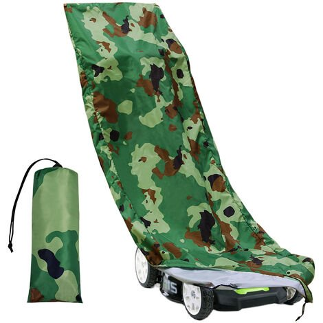 """main image of """"Lawn Mower Cover Waterproof Heavy Duty Push Mower Covers,UV Protection Universal Fit with Drawstring & Cover Storage Bag, Camouflage"""""""