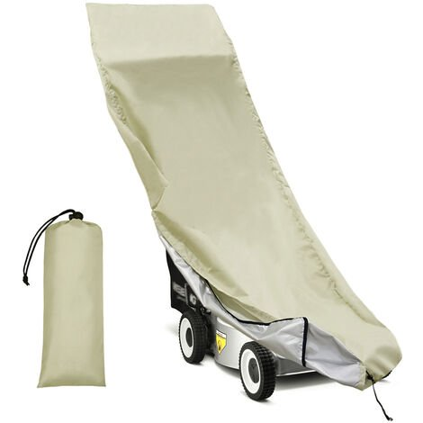 """main image of """"Lawn Mower Cover Waterproof Heavy Duty Push Mower Covers,UV Protection Universal Fit with Drawstring & Cover Storage Bag, Khaki"""""""