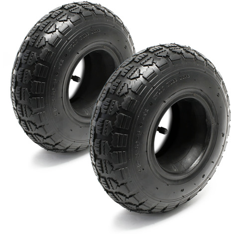 Lawn Mower Tyre Set 2 Tyres with Inner Tubes with Angled Valves 11x4.00-4 4PR