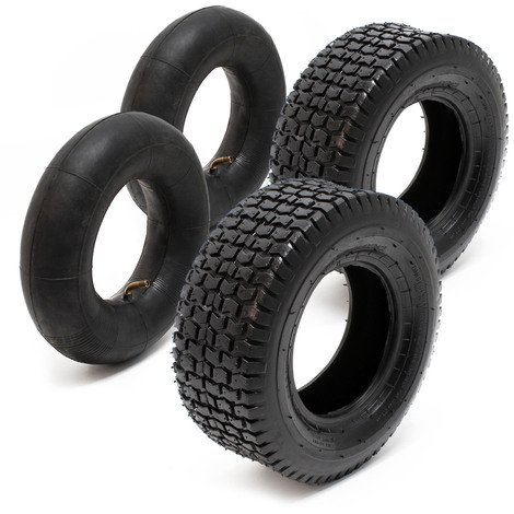 Lawn Mower Tyre Set 2 Tyres with Inner Tubes with Angled Valves 16x6.50-8 4PR