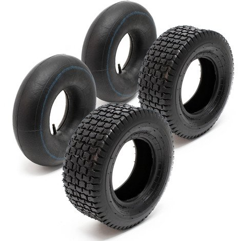 Lawn Mower Tyre Set 2 Tyres with Inner Tubes with Straight Valves 15x6.00-6 4PR