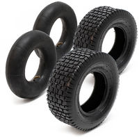 Lawn mower Tyres 2x Set with inner Tubes angled valve 16x6.50-8 4PR