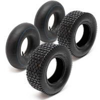 Lawn mower Tyres 2x Set with inner Tubes Straight Valve 15x6.00-6 4PR