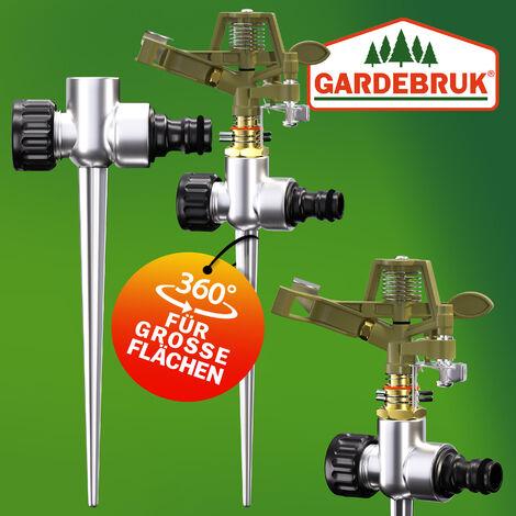 Lawn Sprinkler With Ground Spike 26m Heavy Duty Metal Adjustable Watering Spray Circle